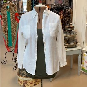 Chico's white linen button up shirt